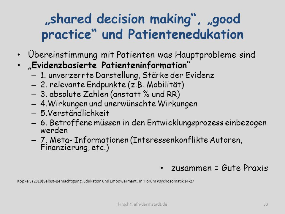 """shared decision making , ""good practice und Patientenedukation"