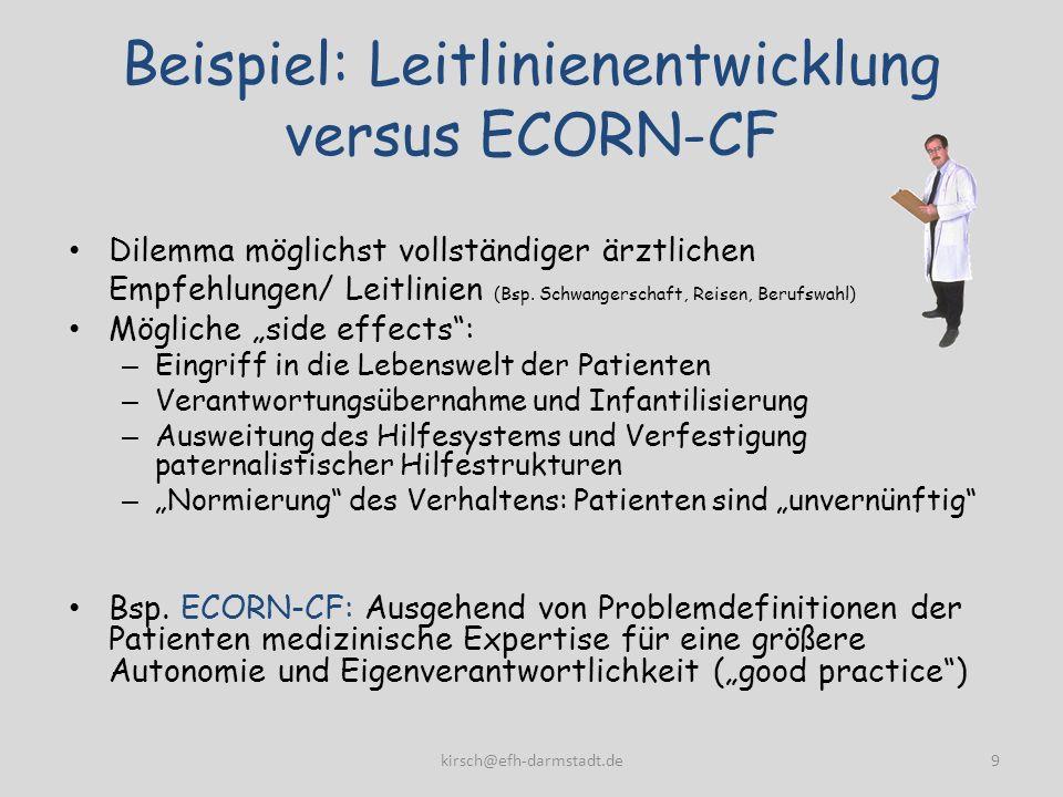 Beispiel: Leitlinienentwicklung versus ECORN-CF