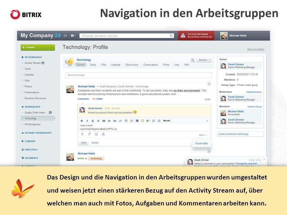 Navigation in den Arbeitsgruppen