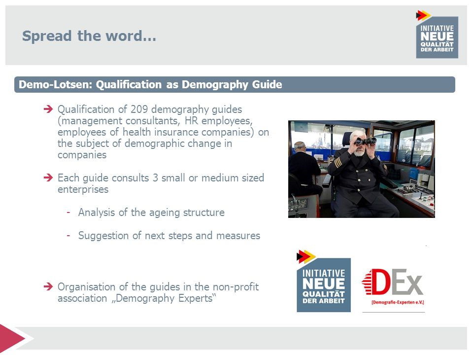 Spread the word… Demo-Lotsen: Qualification as Demography Guide