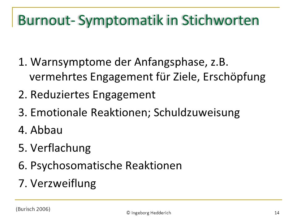 Burnout- Symptomatik in Stichworten