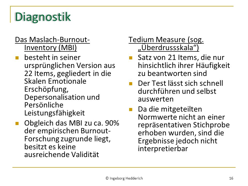 Diagnostik Das Maslach-Burnout-Inventory (MBI)