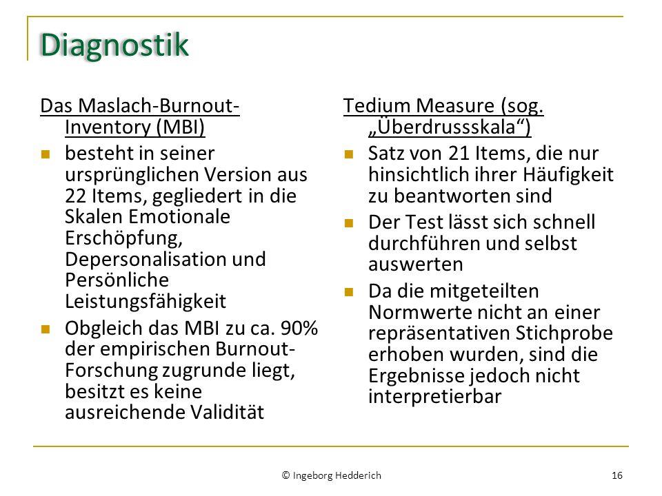 Diagnostik Das Maslach-Burnout-Inventory (MBI)