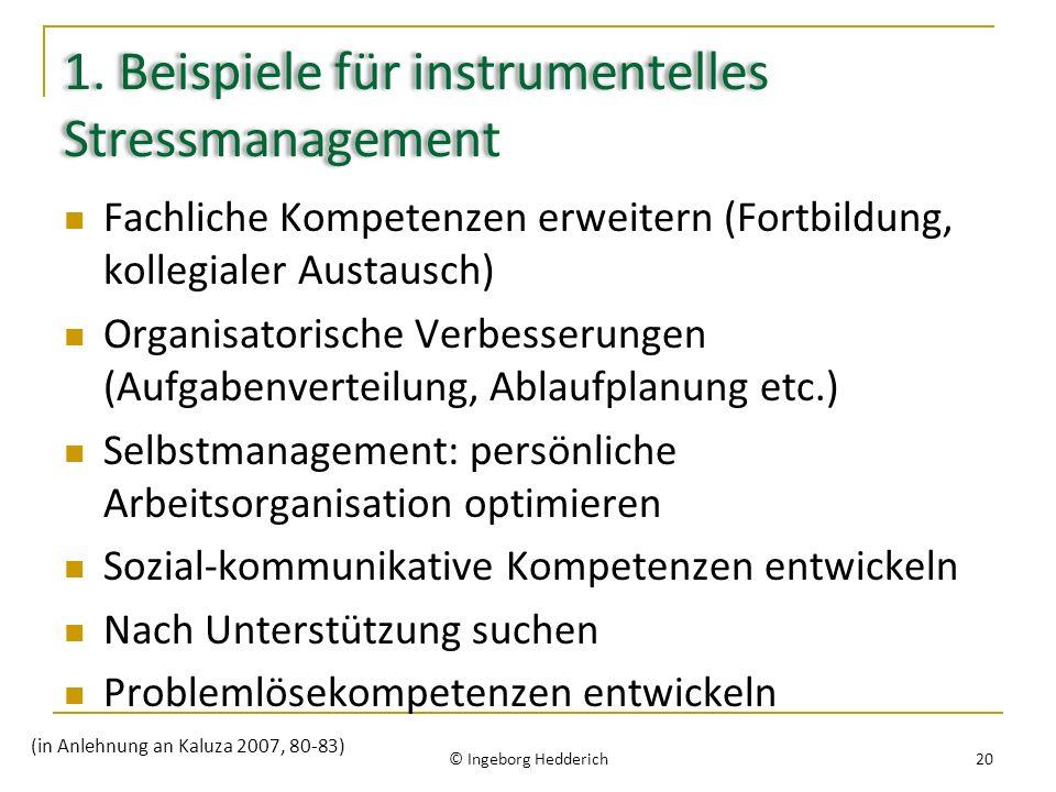 1. Beispiele für instrumentelles Stressmanagement