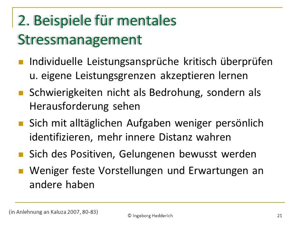 2. Beispiele für mentales Stressmanagement