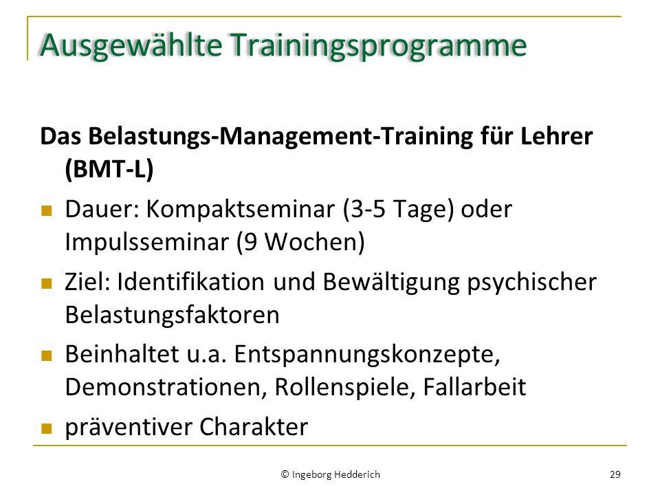 Ausgewählte Trainingsprogramme