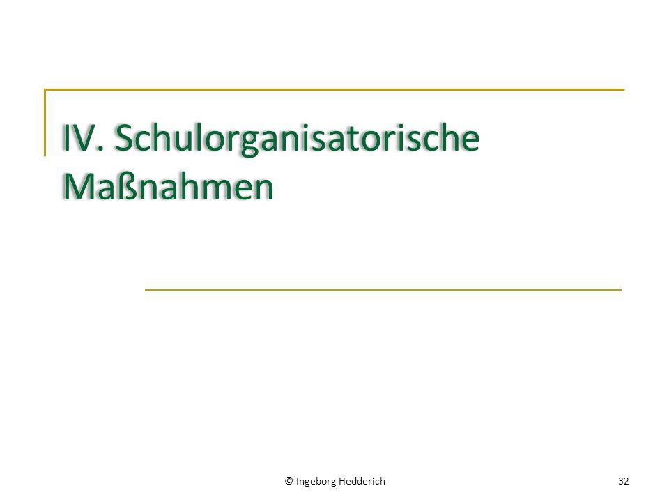 IV. Schulorganisatorische Maßnahmen