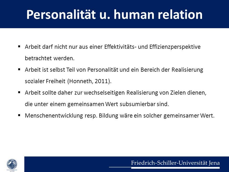 Personalität u. human relation