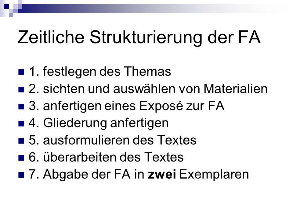 Zeitliche Strukturierung der FA