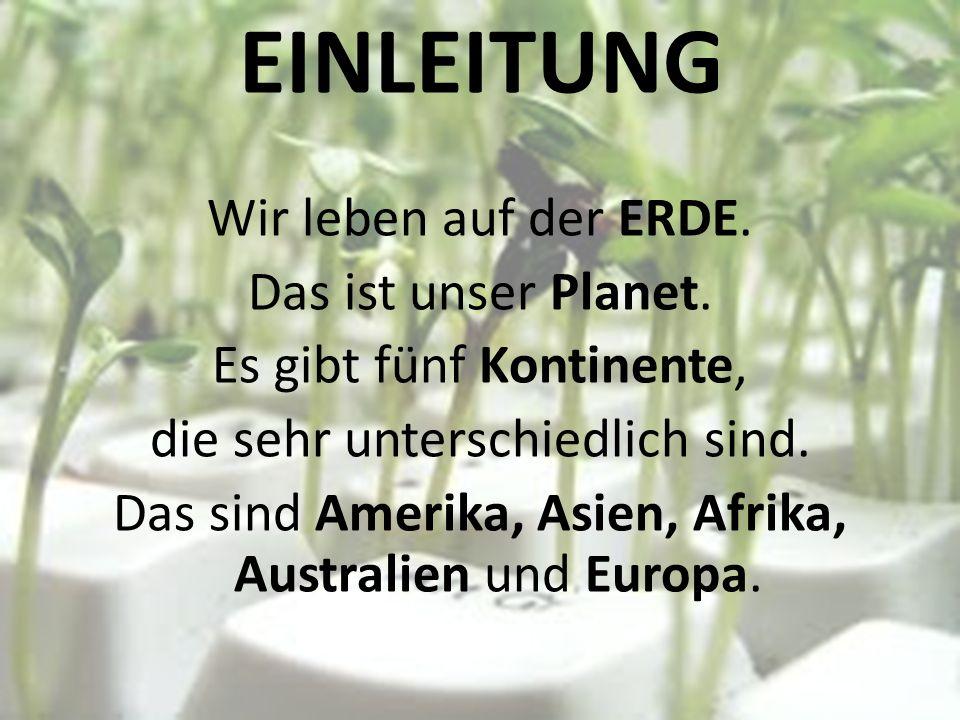 EINLEITUNG Wir leben auf der ERDE. Das ist unser Planet.
