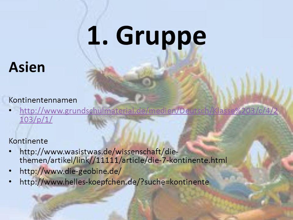 1. Gruppe Asien Kontinentennamen