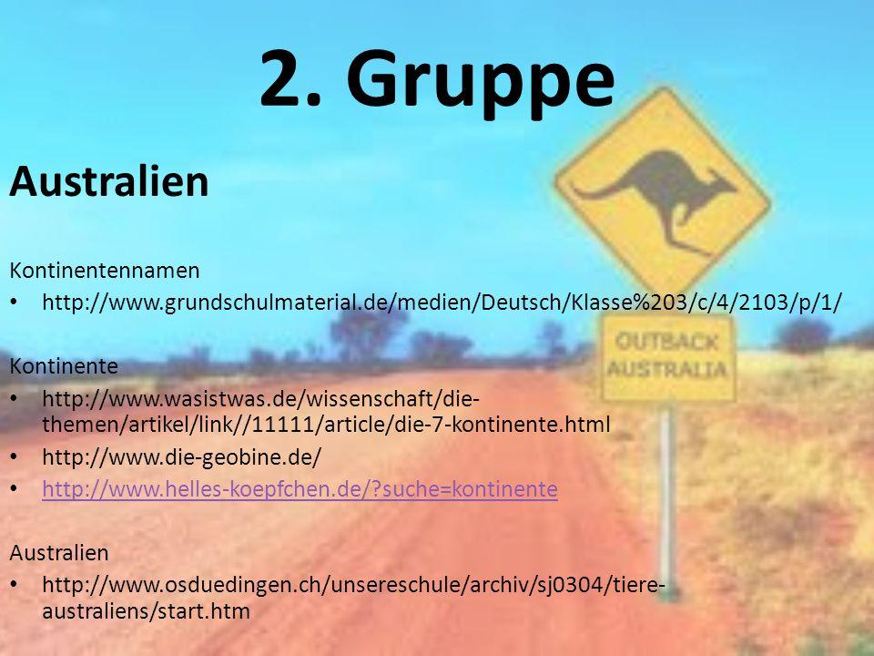 2. Gruppe Australien Kontinentennamen