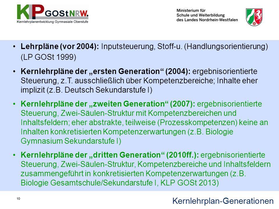 Kernlehrplan-Generationen