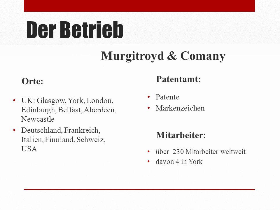 Der Betrieb Murgitroyd & Comany Orte: Patentamt: Mitarbeiter:
