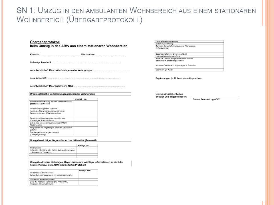 SN 1: Umzug in den ambulanten Wohnbereich aus einem stationären Wohnbereich (Übergabeprotokoll)