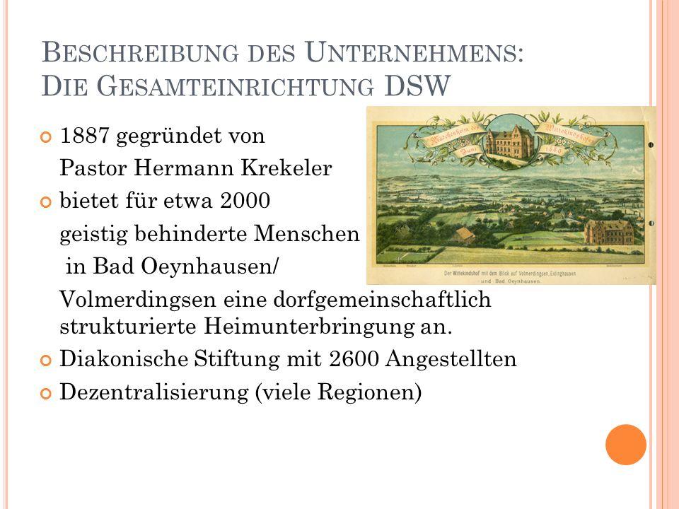 Beschreibung des Unternehmens: Die Gesamteinrichtung DSW