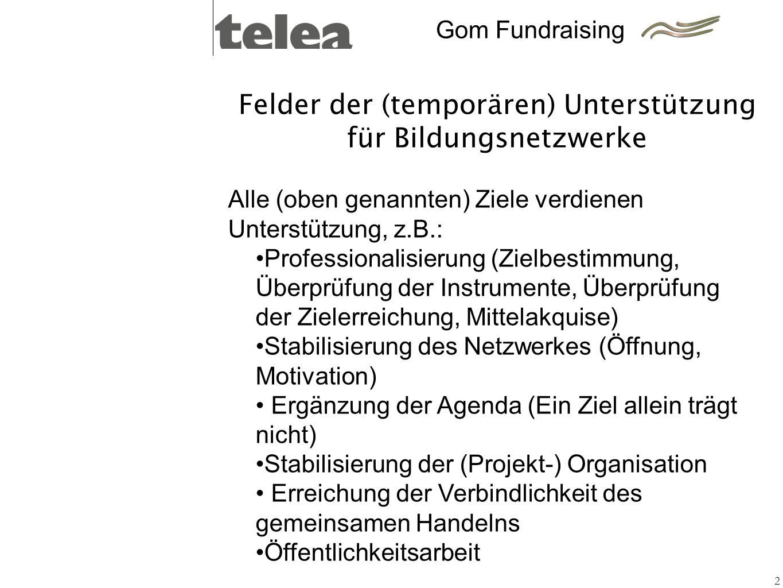 Felder der (temporären) Unterstützung für Bildungsnetzwerke