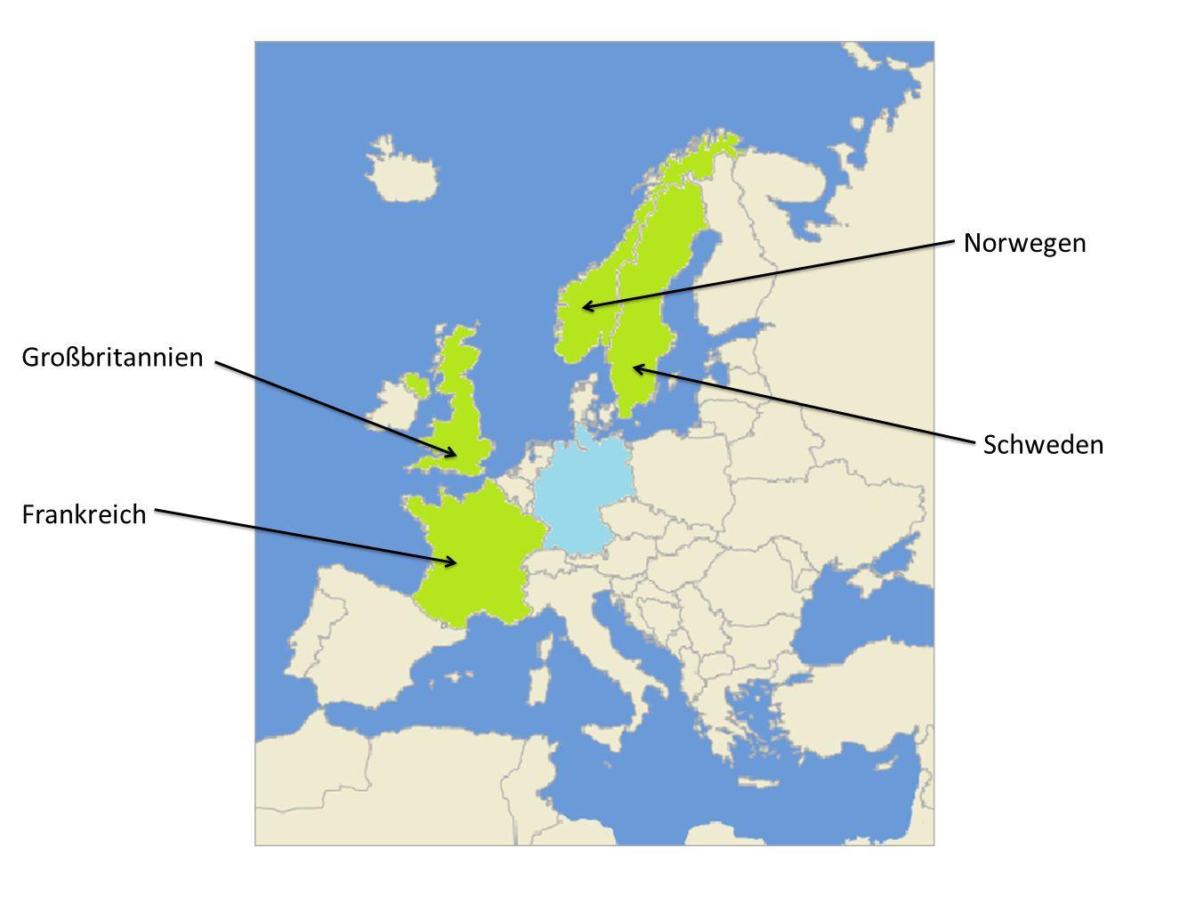 Norwegen Großbritannien Schweden Frankreich