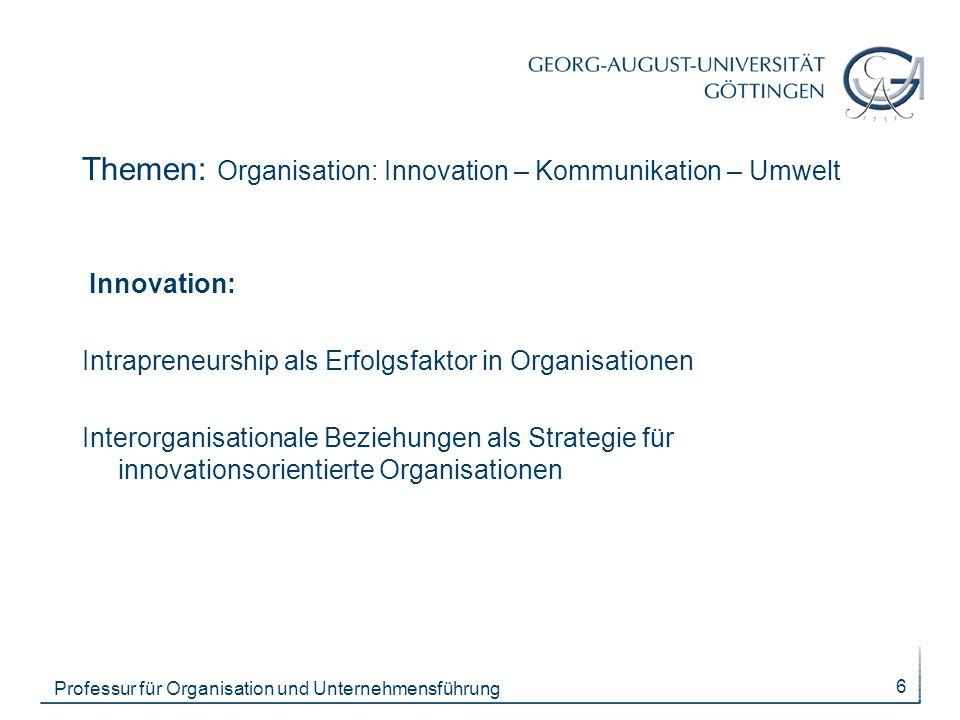 Themen: Organisation: Innovation – Kommunikation – Umwelt