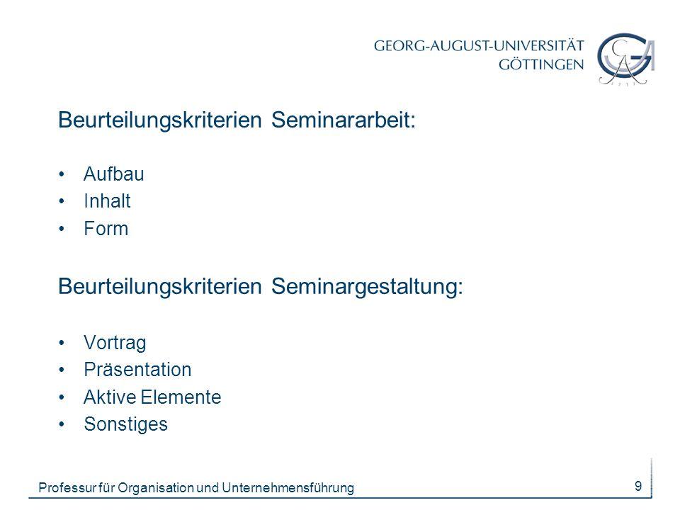 Beurteilungskriterien Seminararbeit: