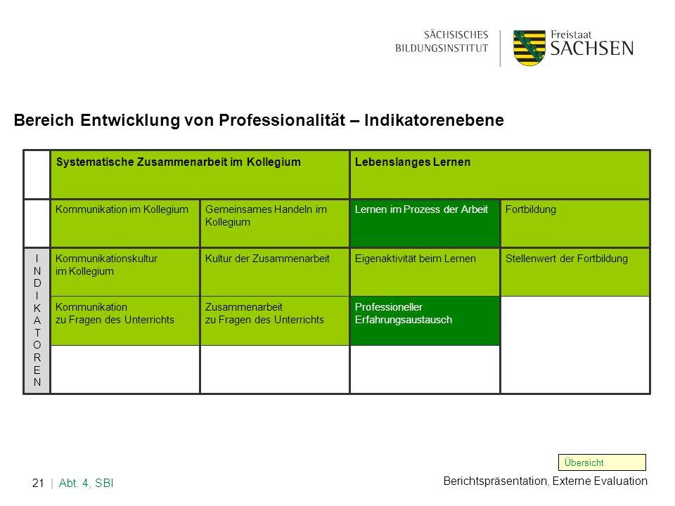 Bereich Entwicklung von Professionalität – Indikatorenebene