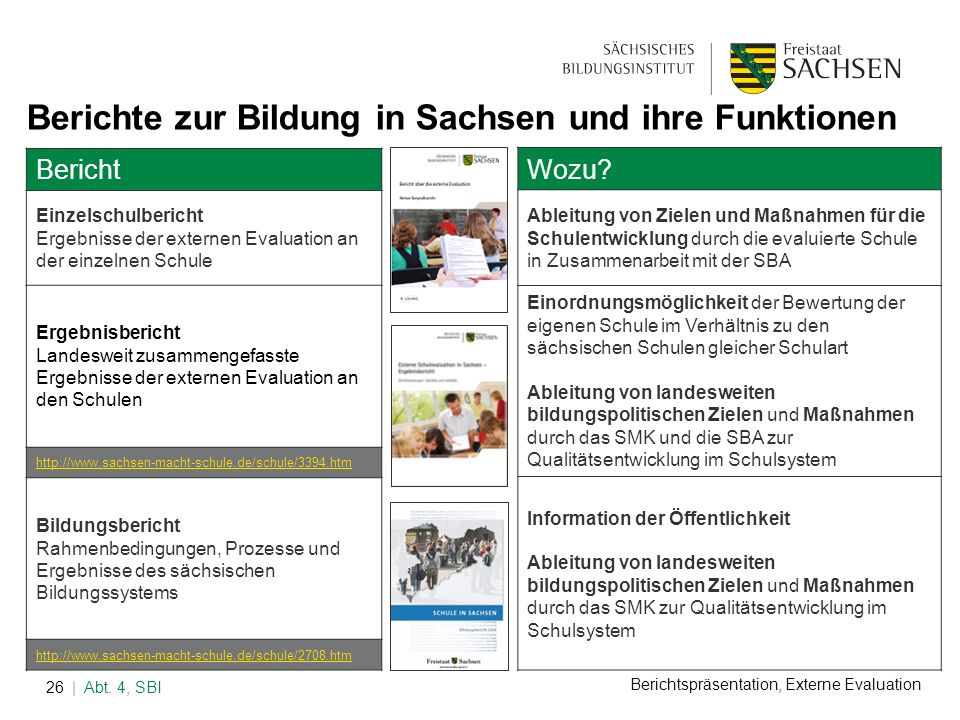 Berichte zur Bildung in Sachsen und ihre Funktionen