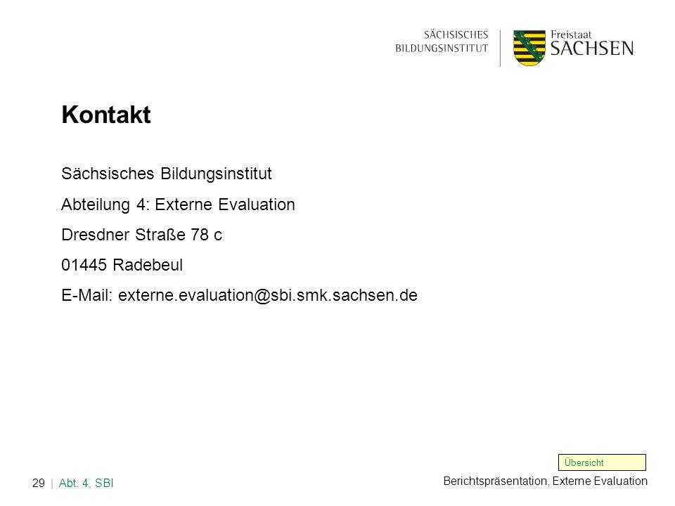 Kontakt Sächsisches Bildungsinstitut Abteilung 4: Externe Evaluation