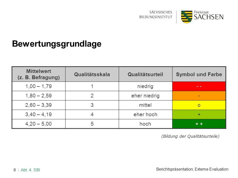 Bewertungsgrundlage Mittelwert (z. B. Befragung) Qualitätsskala