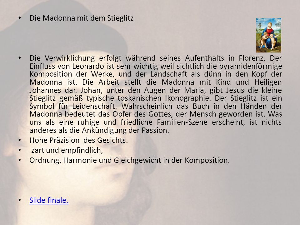 Die Madonna mit dem Stieglitz