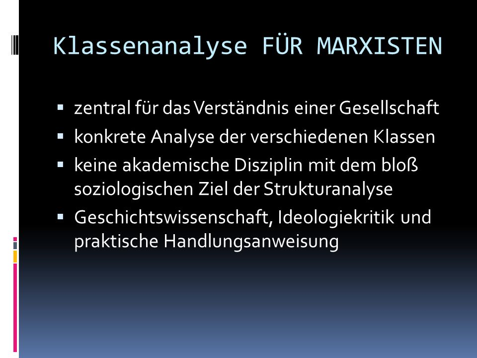 Klassenanalyse FÜR MARXISTEN