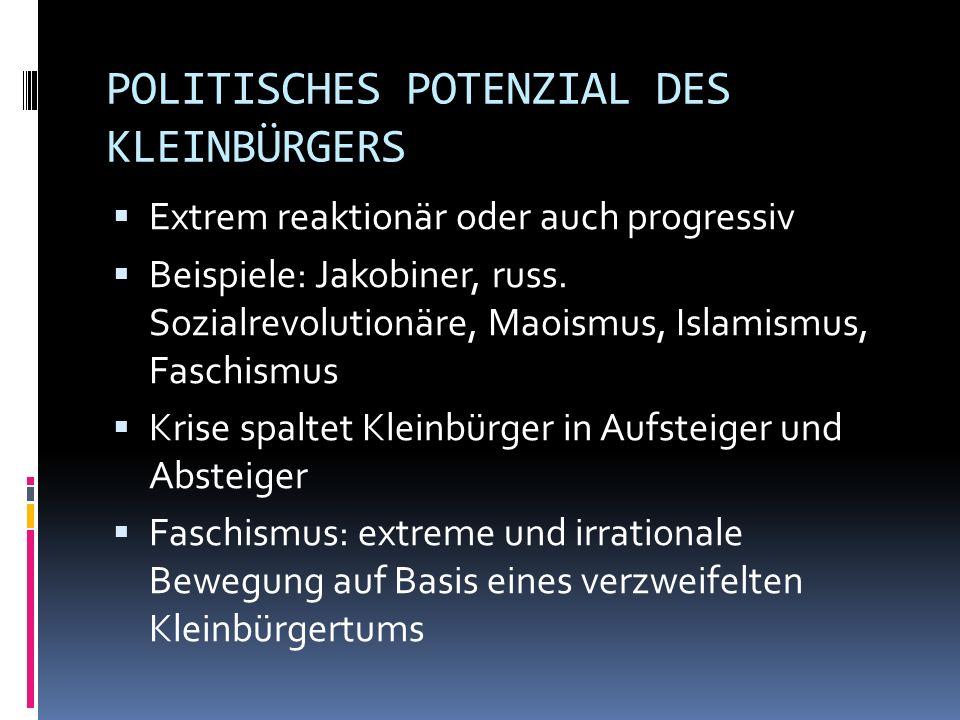 POLITISCHES POTENZIAL DES KLEINBÜRGERS