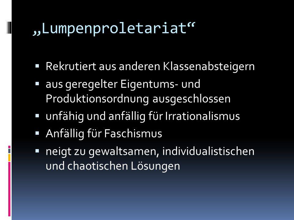 """Lumpenproletariat Rekrutiert aus anderen Klassenabsteigern"