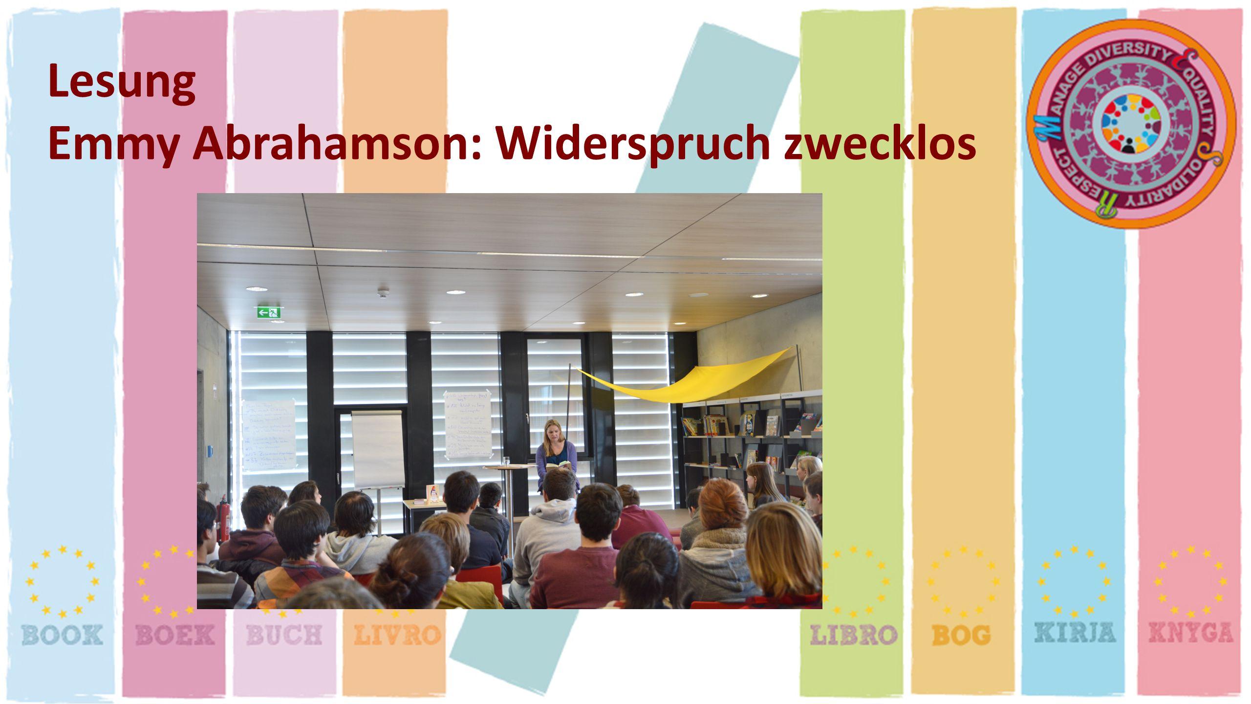 Lesung Emmy Abrahamson: Widerspruch zwecklos