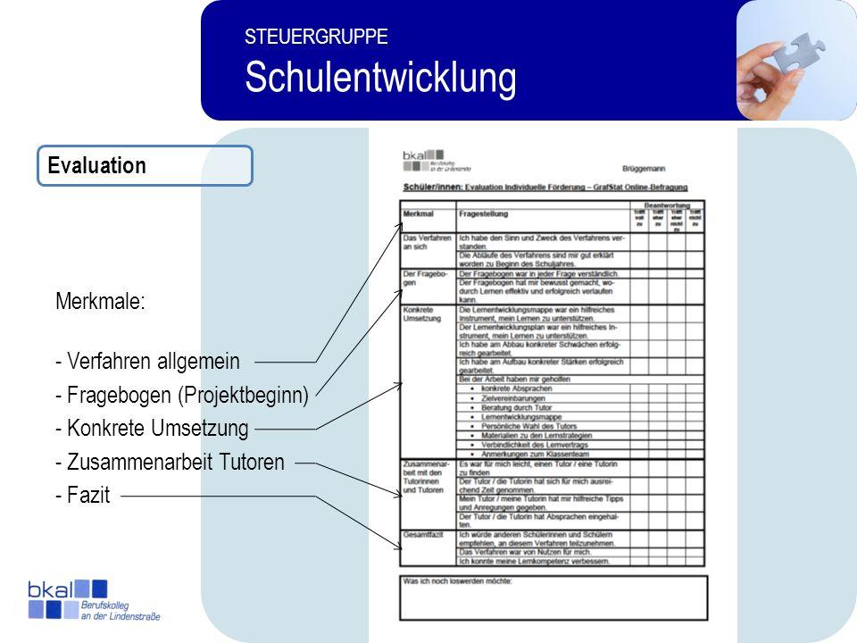 Evaluation Merkmale: - Verfahren allgemein. - Fragebogen (Projektbeginn) - Konkrete Umsetzung. - Zusammenarbeit Tutoren.