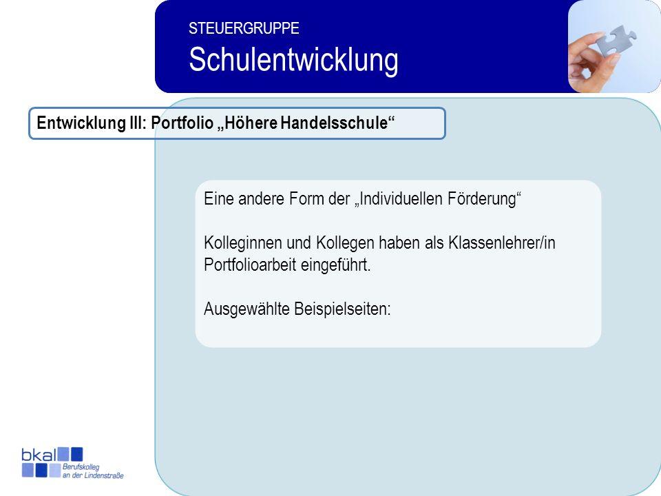 """Schulentwicklung Entwicklung III: Portfolio """"Höhere Handelsschule"""