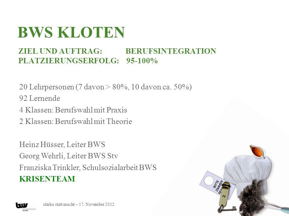 BWS Kloten Ziel und Auftrag: Berufsintegration