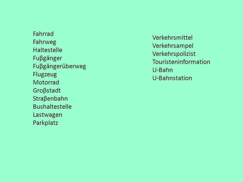 Fahrrad Fahrweg. Haltestelle. Fuβgänger. Fuβgängerüberweg. Flugzeug. Motorrad. Groβstadt. Straβenbahn.