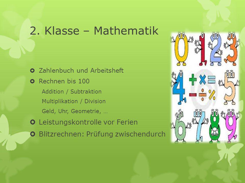 2. Klasse – Mathematik Leistungskontrolle vor Ferien