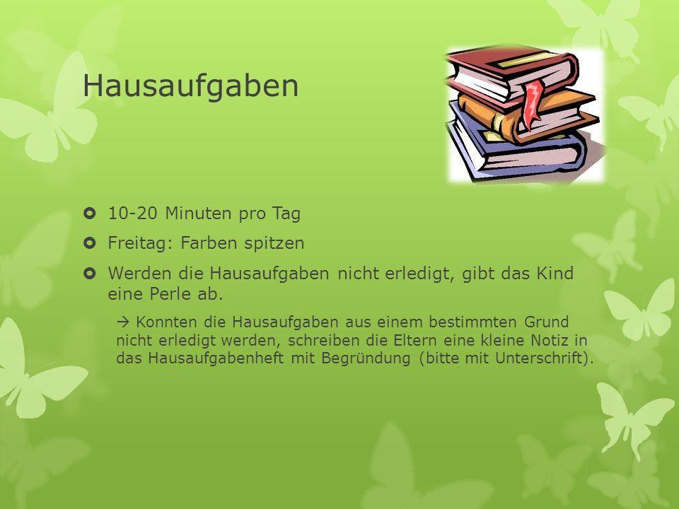 Hausaufgaben 10-20 Minuten pro Tag Freitag: Farben spitzen