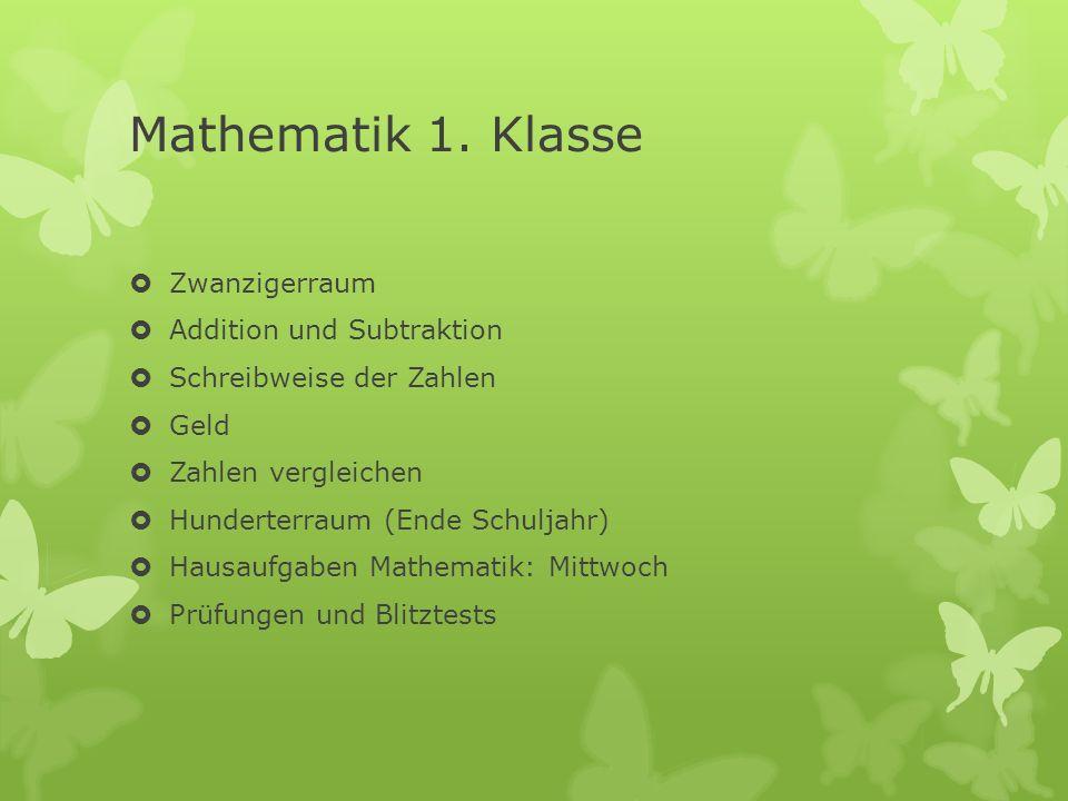 Mathematik 1. Klasse Zwanzigerraum Addition und Subtraktion