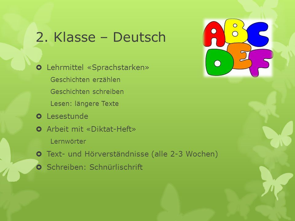 2. Klasse – Deutsch Lehrmittel «Sprachstarken» Lesestunde