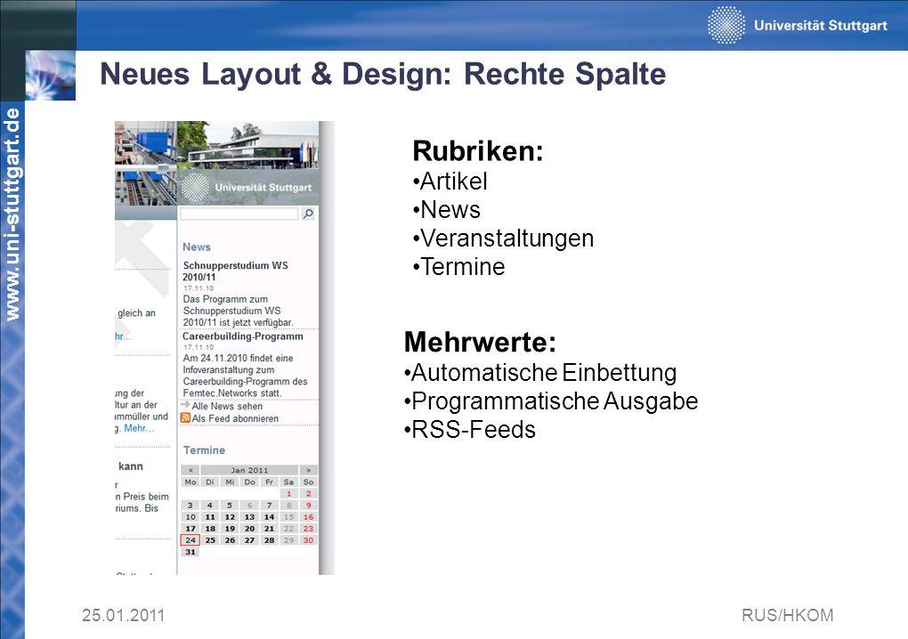 Neues Layout & Design: Rechte Spalte