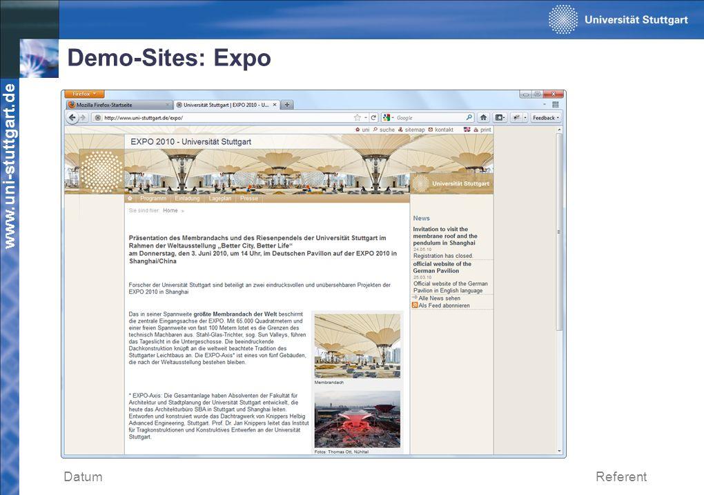 Demo-Sites: Expo Datum Referent