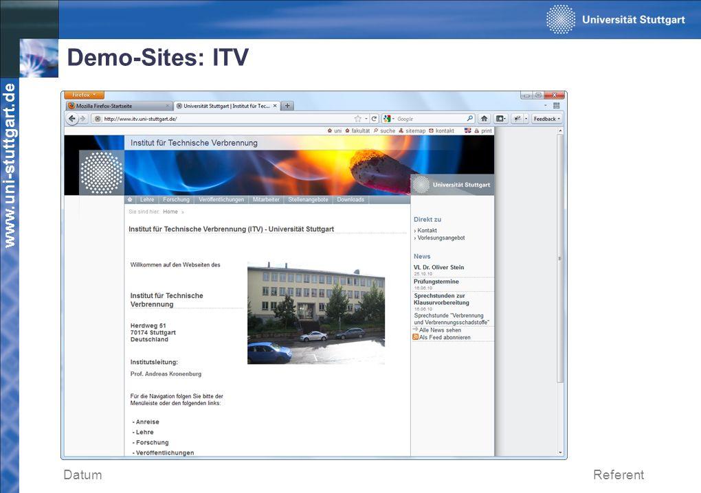 Demo-Sites: ITV Datum Referent