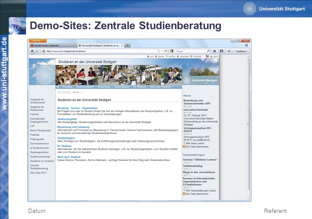 Demo-Sites: Zentrale Studienberatung