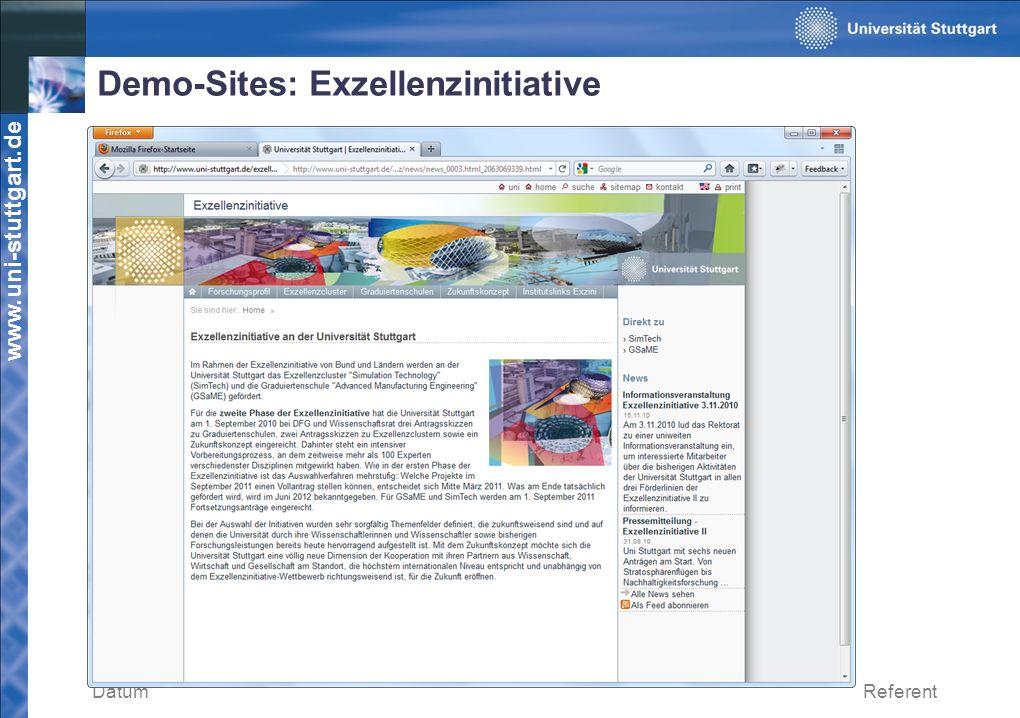 Demo-Sites: Exzellenzinitiative