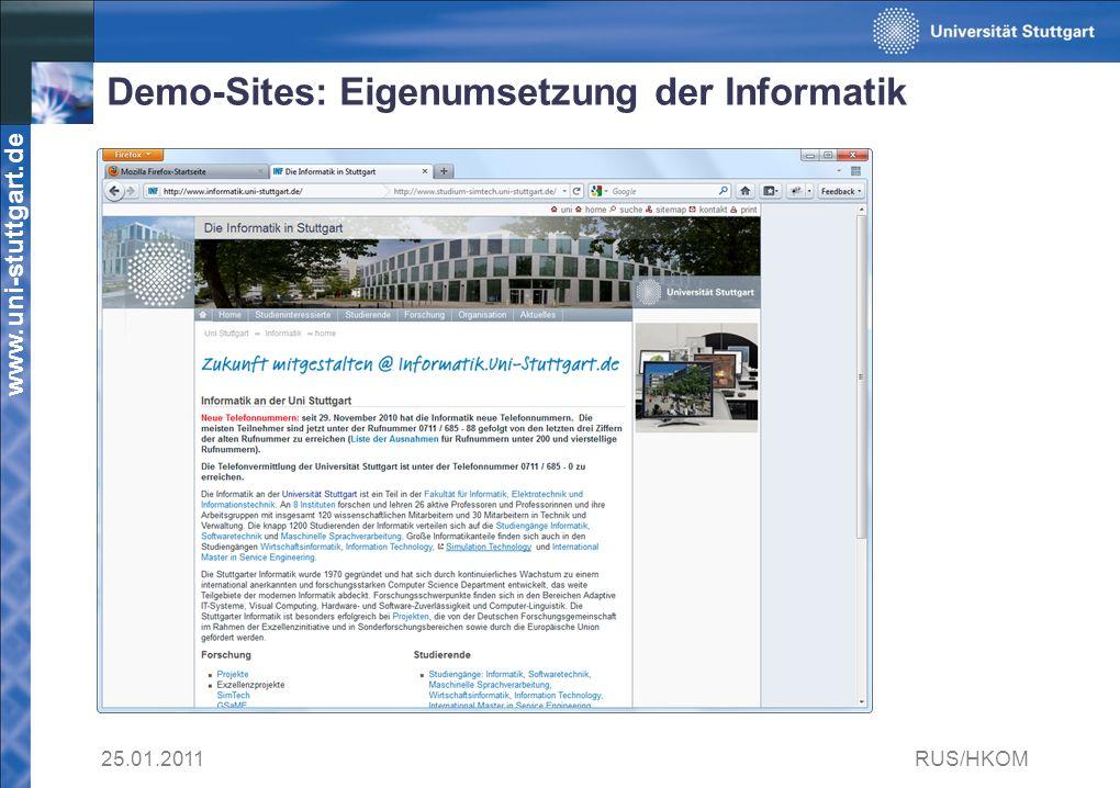 Demo-Sites: Eigenumsetzung der Informatik