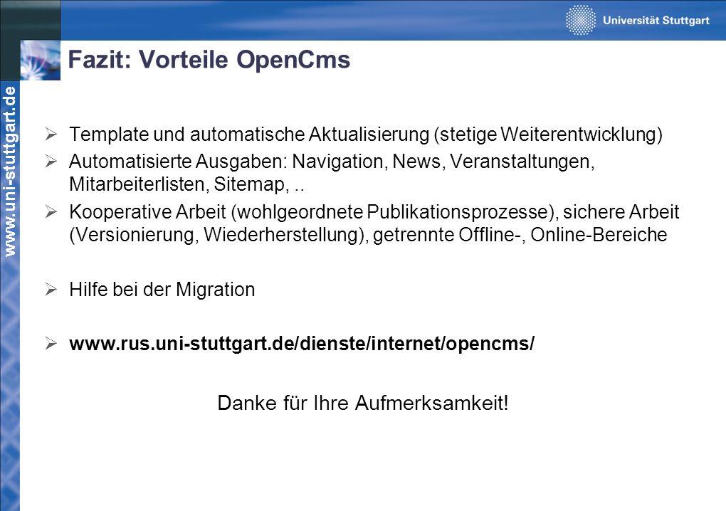 Fazit: Vorteile OpenCms