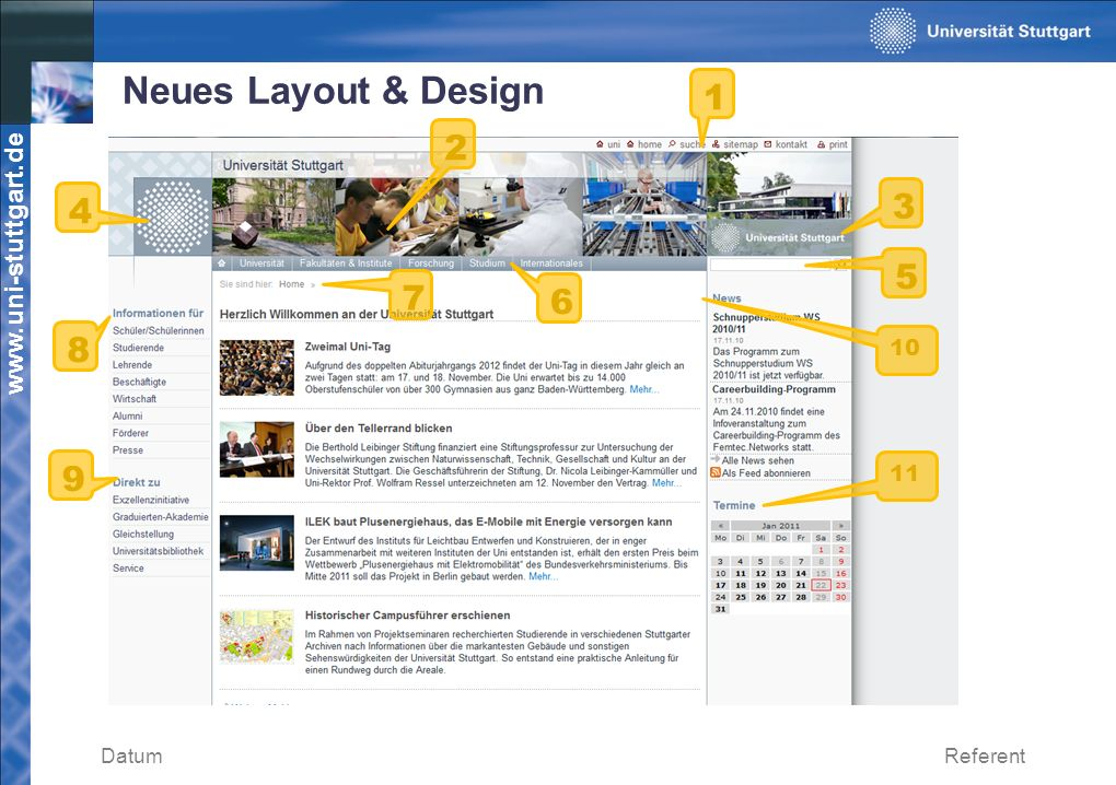 Neues Layout & Design 1 2 4 3 5 7 6 8 10 9 11 Datum Referent