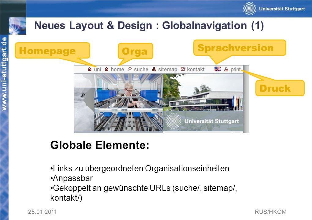 Neues Layout & Design : Globalnavigation (1)